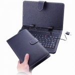 80-key Protection Stand Leather Case Cover with Keyboard for 7inch Tablet PC-Black